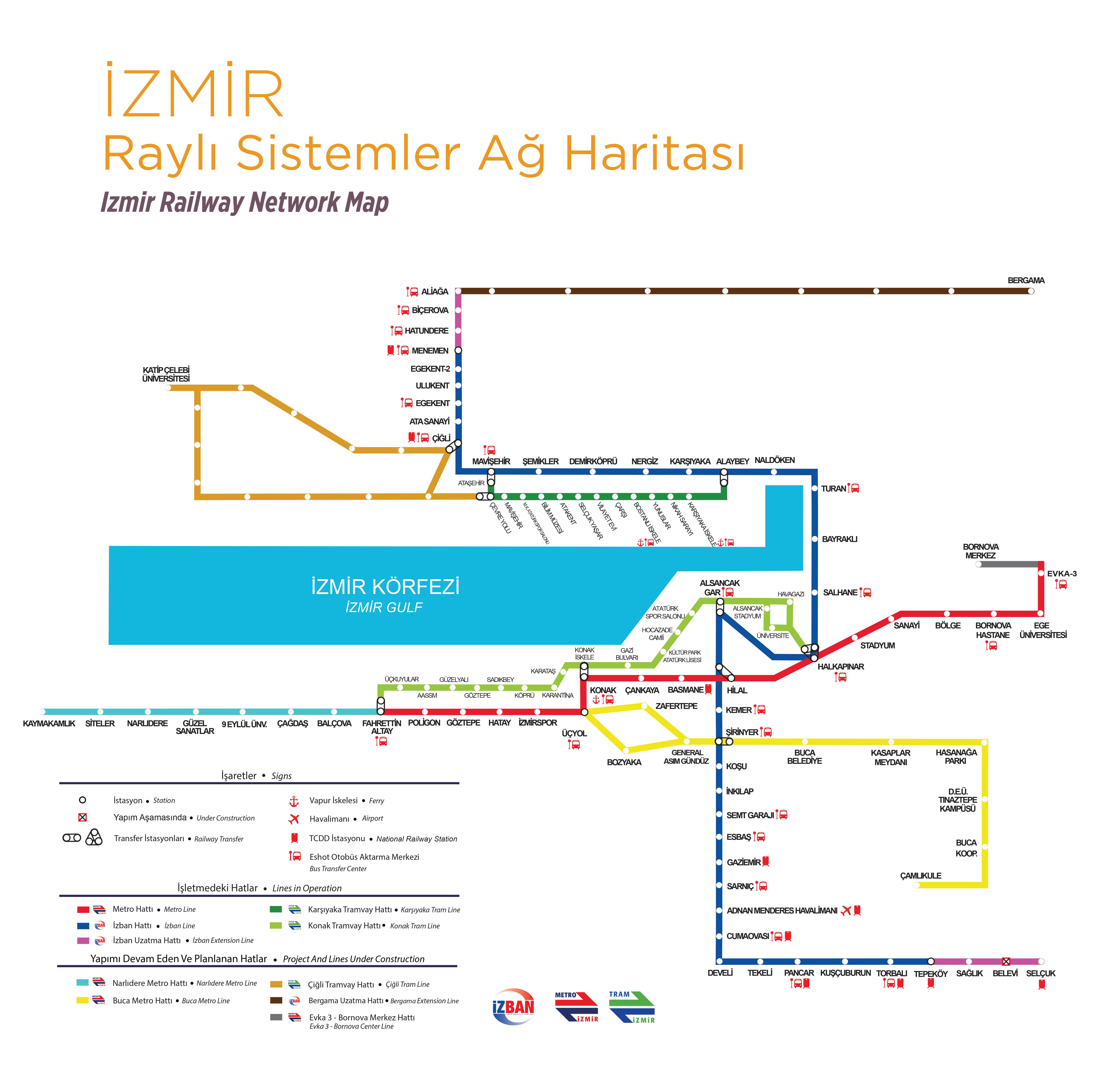 Harta Metroului Izmir Rayhaber